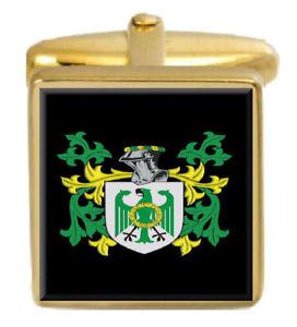 【送料無料】メンズアクセサリ― アイルランドカフスボタンボックスコートdonohoe ireland family crest surname coat of arms gold cufflinks engraved box