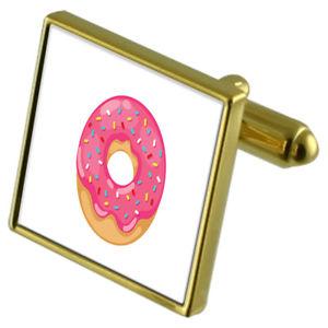 【送料無料】メンズアクセサリ― ドーナツカフスボタンクリスタルタイクリップセットdoughnut goldtone cufflinks crystal tie clip gift set