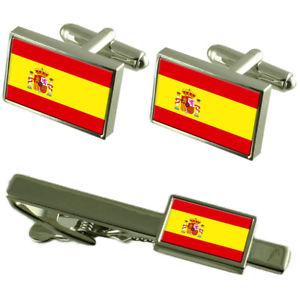 【送料無料】メンズアクセサリ― スペインカフスボタンタイクリップマッチングボックスセットspain flag cufflinks tie clip matching box gift set