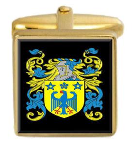 【送料無料】メンズアクセサリ― イギリスカフスボタンボックスコートmingham england family crest surname coat of arms gold cufflinks engraved box