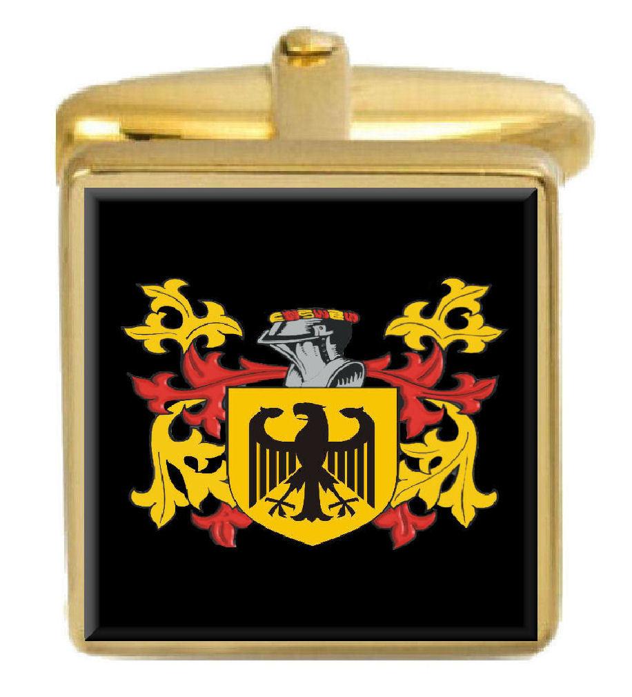 【送料無料】メンズアクセサリ― イングランドカフスボタンボックスコートcantrell england family crest surname coat of arms gold cufflinks engraved box