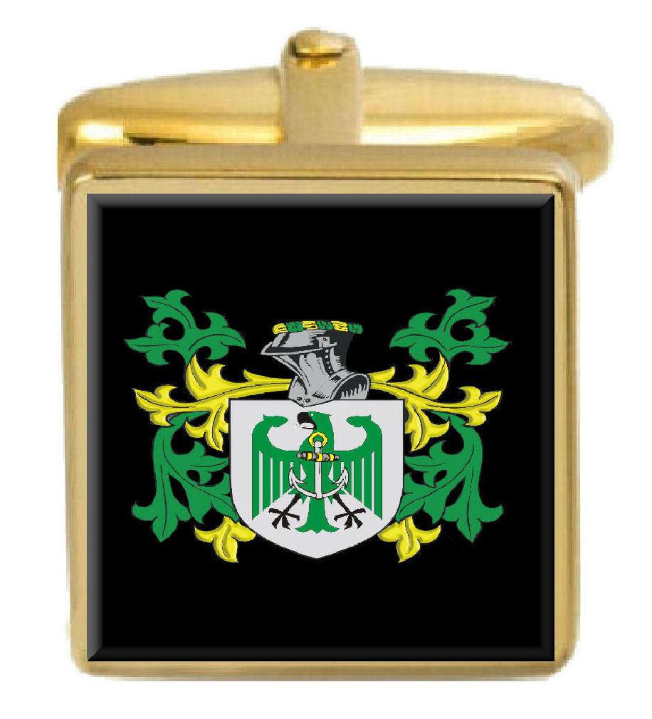 【送料無料】メンズアクセサリ― イギリスカフスボタンボックスコートlampeth england family crest surname coat of arms gold cufflinks engraved box