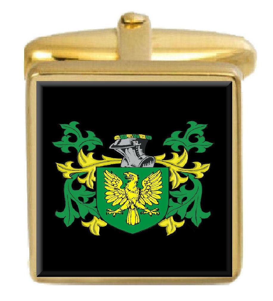 【送料無料】メンズアクセサリ― イギリスカフスボタンボックスコートjennison england family crest surname coat of arms gold cufflinks engraved box