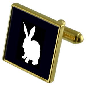 【送料無料】メンズアクセサリ― ウサギカフスボタンクリスタルタイクリップセットrabbit goldtone cufflinks crystal tie clip gift set