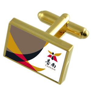 【送料無料】メンズアクセサリ― ゴールドフラッグカフスボタンボックスtainan city taiwan gold flag cufflinks engraved box