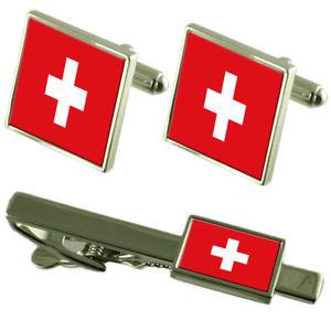 【送料無料】メンズアクセサリ― スイスカフスボタンタイクリップマッチングボックスセットswitzerland flag cufflinks tie clip matching box gift set