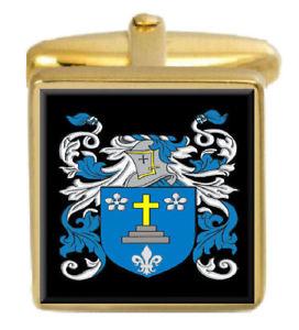 【送料無料】メンズアクセサリ― カフスボタンボックスコートtenby wales family crest surname coat of arms gold cufflinks engraved box