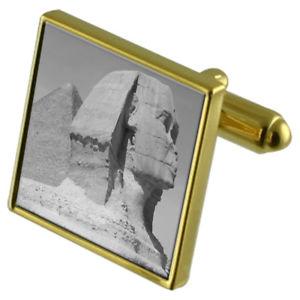 【送料無料】メンズアクセサリ― スフィンクスカフスボタンクリスタルタイクリップセットsphinx goldtone cufflinks crystal tie clip gift set