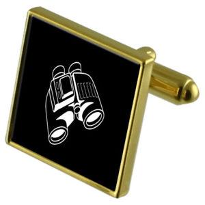 【送料無料】メンズアクセサリ― カフスボタンクリスタルタイクリップセットbinoculars goldtone cufflinks crystal tie clip gift set