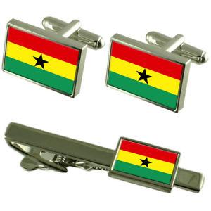 【送料無料】メンズアクセサリ― ガーナカフスボタンタイクリップマッチングボックスセットghana flag cufflinks tie clip matching box gift set