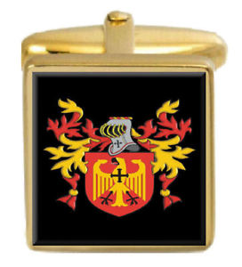 【送料無料】メンズアクセサリ― イギリスカフスボタンボックスコートjelberd england family crest surname coat of arms gold cufflinks engraved box