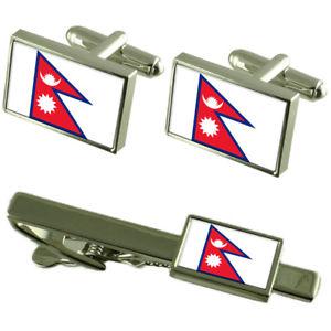 【送料無料】メンズアクセサリ― ネパールカフスボタンタイクリップマッチングボックスセットnepal flag cufflinks tie clip matching box gift set