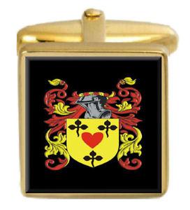 【送料無料】メンズアクセサリ― イギリスカフスボタンボックスコートmountaine england family crest surname coat of arms gold cufflinks engraved box