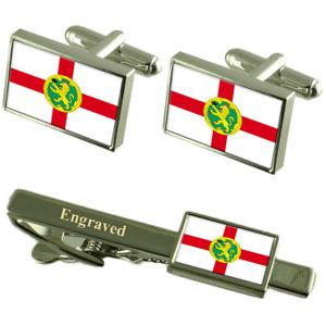 【送料無料】メンズアクセサリ― フラグカフスボタンタイクリップマッチングボックスalderney flag cufflinks engraved tie clip matching box set