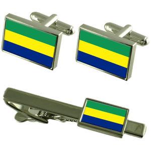 【送料無料】メンズアクセサリ― ガボンカフスボタンタイクリップマッチングボックスセットgabon flag cufflinks tie clip matching box gift set