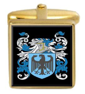 【送料無料】メンズアクセサリ― イングランドカフスボタンボックスコートhaslett england family crest surname coat of arms gold cufflinks engraved box