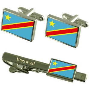 【送料無料】メンズアクセサリ― フラグカフスボタンタイクリップマッチングボックスcongokinshasa flag cufflinks engraved tie clip matching box set