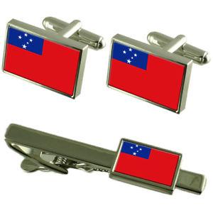 【送料無料】メンズアクセサリ― サモアカフスボタンタイクリップマッチングボックスセットsamoa flag cufflinks tie clip matching box gift set
