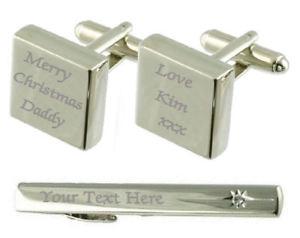 【送料無料】メンズアクセサリ― メリークリスマスカフスリンクネクタイピンボックスセットmerry christmas engraved cufflinks tie clip box set