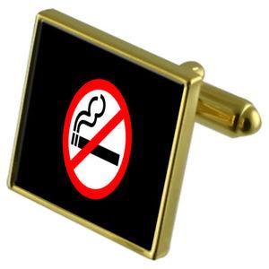 【送料無料】メンズアクセサリ― サインカフスリンクネクタイピンセットno smoking sign goldtone cufflinks crystal tie clip gift set