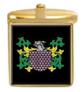 【送料無料】メンズアクセサリ― センサーイングランドカフスボタンボックスコートethridge england family crest surname coat of arms gold cufflinks engraved box
