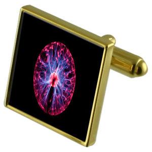 【送料無料】メンズアクセサリ― プラズマボールエネルギーカフスボタンクリスタルタイクリップセットplasma ball energy goldtone cufflinks crystal tie clip gift set
