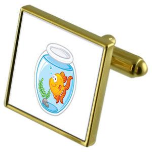 【送料無料】メンズアクセサリ― ボウルカフスボタンクリスタルタイクリップセットgold fish bowl goldtone cufflinks crystal tie clip gift set