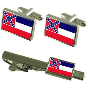 【送料無料】メンズアクセサリ― ミシシッピカフスボタンタイクリップマッチングボックスセットmississippi flag cufflinks tie clip matching box gift set