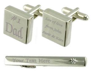 【送料無料】メンズアクセサリ― #カフスボタンタイクリップボックスdad 1 engraved cufflinks tie clip box set