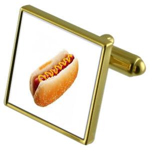 【送料無料】メンズアクセサリ― カフスボタンクリスタルタイクリップセットhotdog goldtone cufflinks crystal tie clip gift set