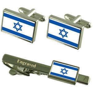 【送料無料】メンズアクセサリ― イスラエルカフスボタンタイクリップマッチングボックスisrael flag cufflinks engraved tie clip matching box set