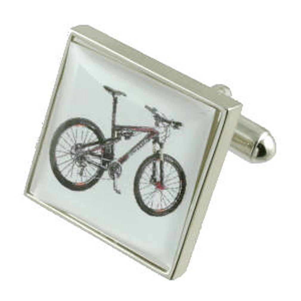 【送料無料】メンズアクセサリ― シルバーカフスボタンマウンテンスポーツバイクボックスオンsilver bicycle cufflinks mountain sports bike engraved personalised box