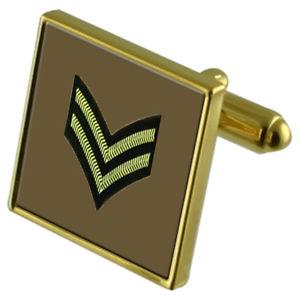 【送料無料】メンズアクセサリ― ランクカフスボタンクリスタルタイクリップセットarmy insignia rank corporal goldtone cufflinks crystal tie clip gift set
