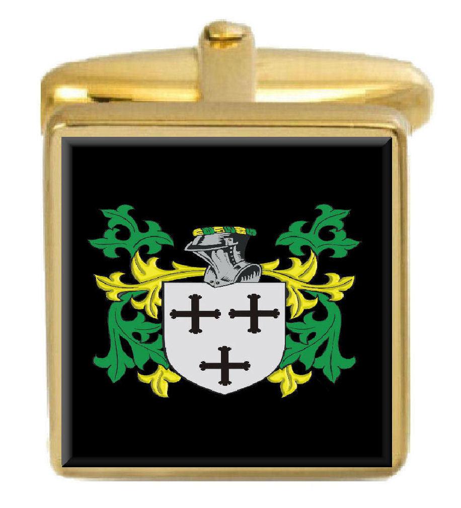 【送料無料】メンズアクセサリ― イギリスカフスボタンボックスコートcrellin england family crest surname coat of arms gold cufflinks engraved box