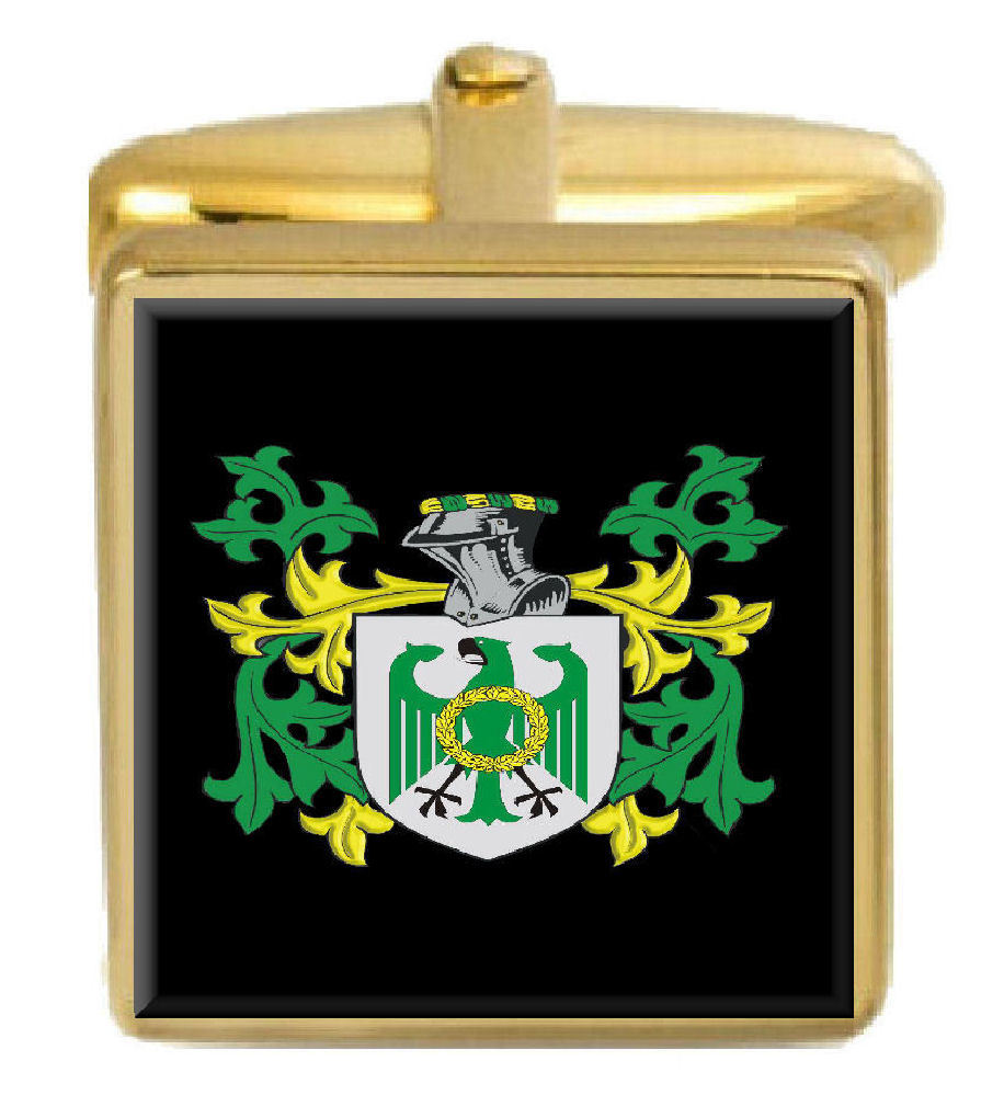 【送料無料】メンズアクセサリ― イギリスカフスボタンボックスコートsearcey england family crest surname coat of arms gold cufflinks engraved box