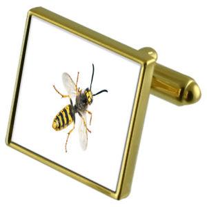 【送料無料】メンズアクセサリ― スズメバチカフスボタンクリスタルタイクリップセットhornet goldtone cufflinks crystal tie clip gift set
