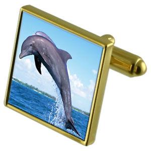 【送料無料】メンズアクセサリ― イルカカフスボタンクリスタルタイクリップセットdolphin goldtone cufflinks crystal tie clip gift set