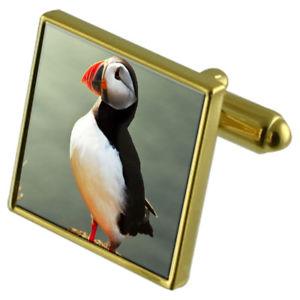 【送料無料】メンズアクセサリ― カフスボタンクリスタルタイクリップセットpuffin bird goldtone cufflinks crystal tie clip gift set