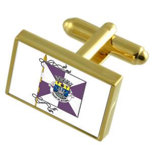 【送料無料】メンズアクセサリ― セトゥーバルポルトガルゴールドフラッグカフスボタンボックスsetubal city portugal gold flag cufflinks engraved box