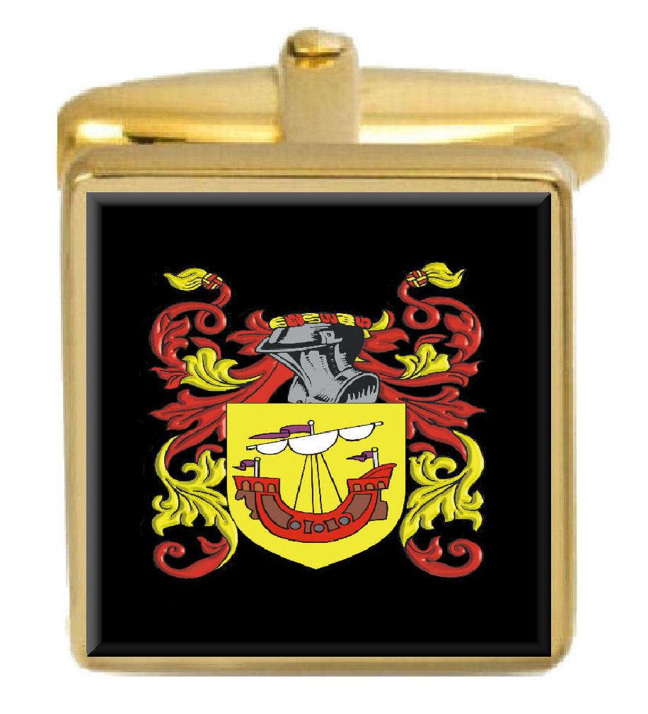 【送料無料】メンズアクセサリ― プラットカフスリンクplatt england family crest surname coat of arms gold cufflinks engraved box