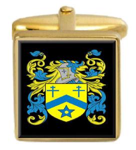 【送料無料】メンズアクセサリ― purverカフスリンクpurver england family crest surname coat of arms gold cufflinks engraved box