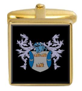 【送料無料】メンズアクセサリ― ホッグカフスリンクhogg england family crest surname coat of arms gold cufflinks engraved box