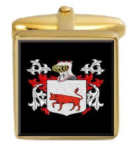 【送料無料】メンズアクセサリ― bevillカフスリンクbevill england family crest surname coat of arms gold cufflinks engraved box