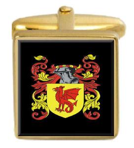 【送料無料】メンズアクセサリ― デイビーイングランドカフスボタンボックスコートdavie england family crest surname coat of arms gold cufflinks engraved box