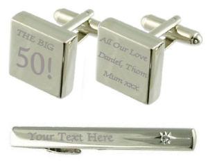 【送料無料】メンズアクセサリ― ビッグカフスボタンタイクリップボックスbig 50 birthday engraved cufflinks tie clip box set