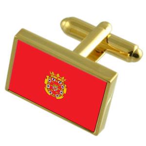 【送料無料】メンズアクセサリ― ムルシアスペインフラグカフスリンクmurcia city spain gold flag cufflinks engraved box