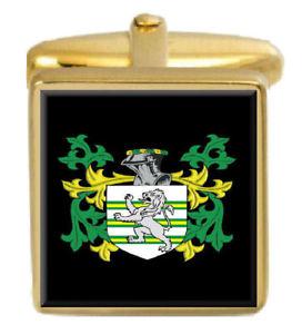 【送料無料】メンズアクセサリ― ヘルモンカフスリンクhermon england family crest surname coat of arms gold cufflinks engraved box