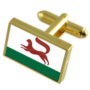 【送料無料】メンズアクセサリ― ロシアゴールドフラッグカフスボタンボックスufa city russia gold flag cufflinks engraved box