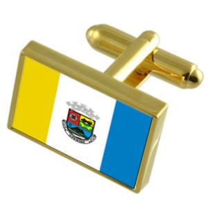 【送料無料】メンズアクセサリ― リオデジャネイロゴールドフラッグカフスボタンボックスaperibe city rio de janeiro state gold flag cufflinks engraved box