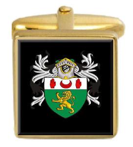 【送料無料】メンズアクセサリ― アイルランドカフスボタンボックスコートmccartan ireland family crest surname coat of arms gold cufflinks engraved box